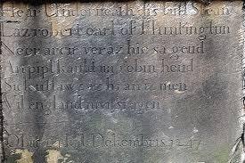 Надпись на могильной плите Робин Гуда