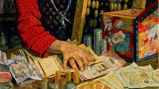 Борис Кустодиев. Старый купец с деньгами (фрагмент). 1918
