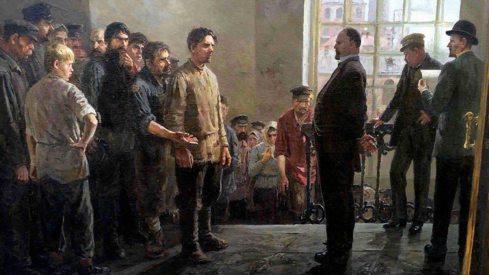 П.Б. Крохоняткин. Забастовка на фабрике. 1953