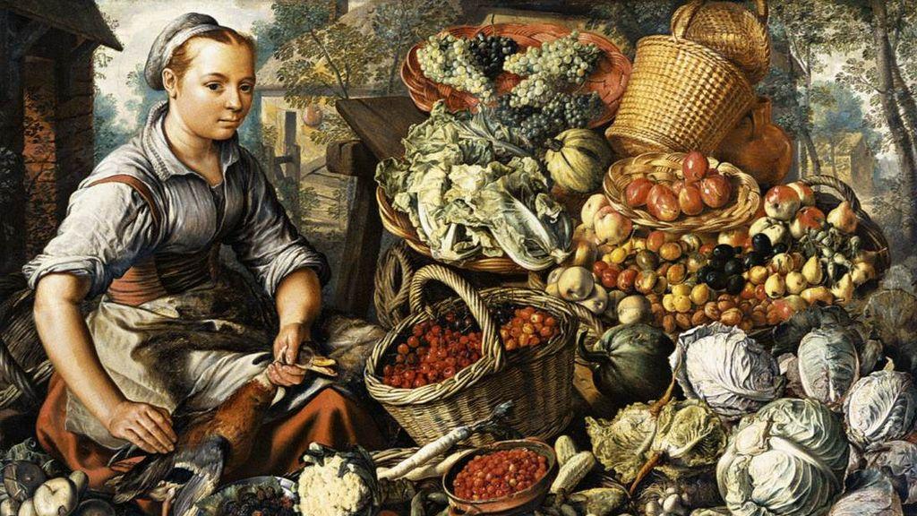 Иоахим Бейкелар. Продавщица с фруктами, овощами и птицей. 1564