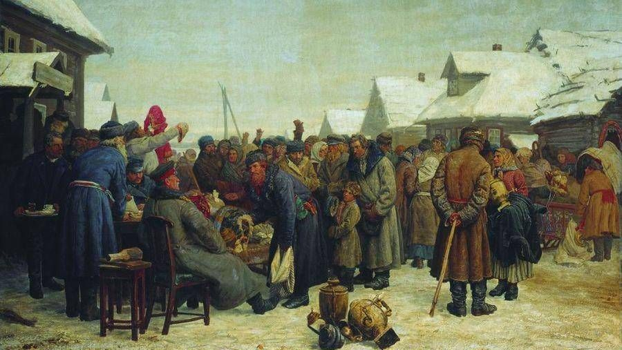 Василий максимов. Аукцион за недоимки (фрагмент). 1880-1881