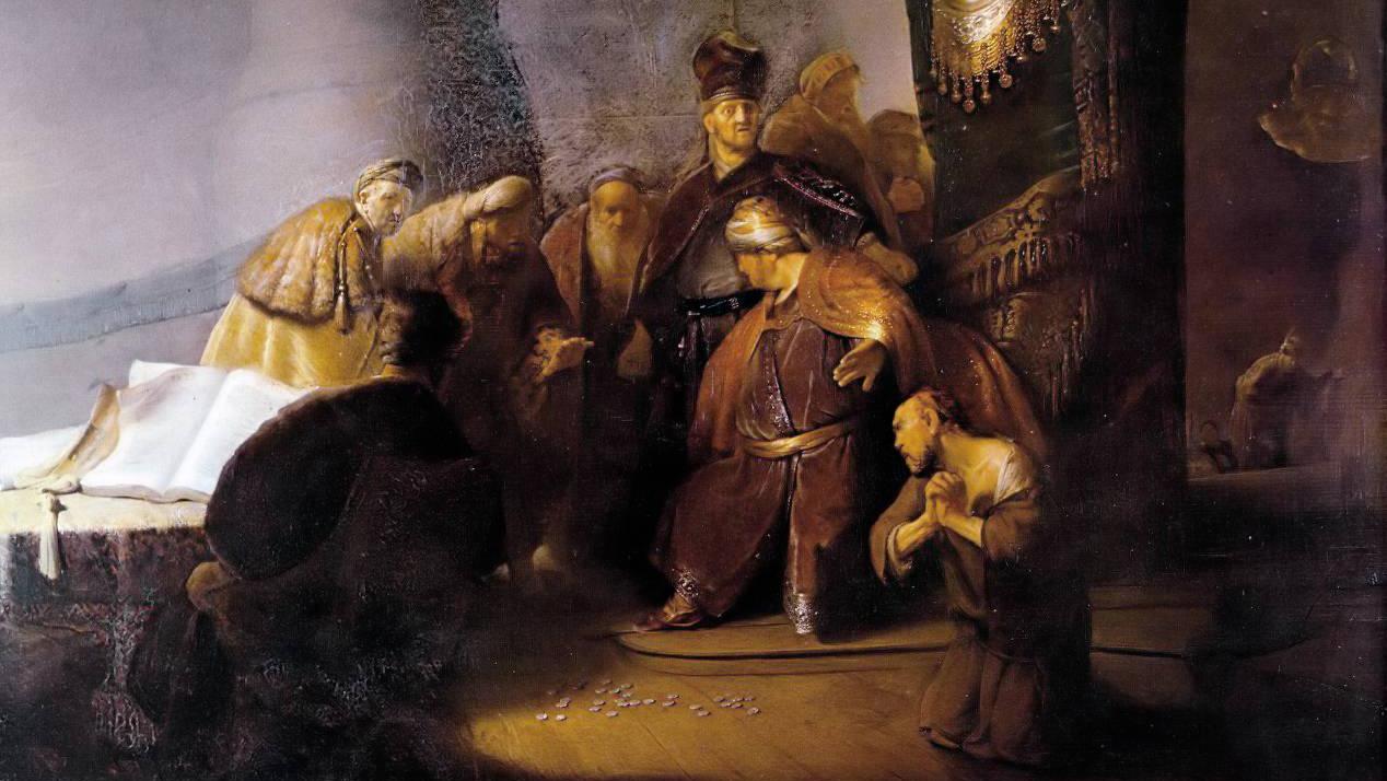 Рембрандт. Иуда возвращает 30 сребреников.