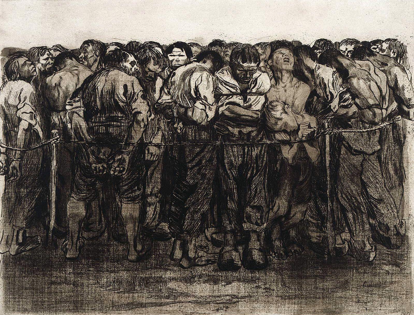 Кете Кольвиц. Крестьянская война, гравюра 7. Пленные. 1908