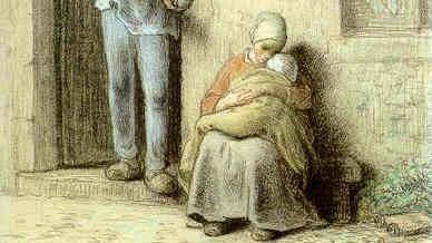 Жан-Франсуа Милле. Больной ребенок (фрагмент). 1858