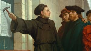 Фердинанд Паувелс. Мартин Лютер вывешивает 95 тезисов (фрагмент). 1872