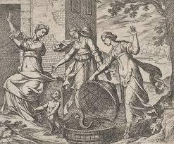 Антонио Темпеста. Эрихтоний, выпущенный из корзины. Из иллюстраций к «Метаморфозам» Овидия. 1606