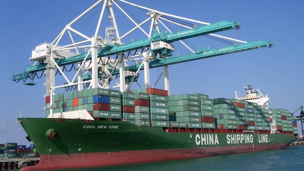 Китайское судно в порту Майами