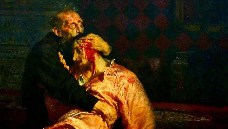 Репин Илья. Иван Грозный и сын его Иван 16 ноября 1581 года (фрагмент). 1885