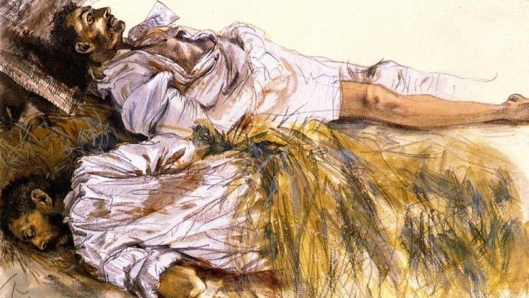 Адольф фон Менцель. Мертвые солдаты. 1866+
