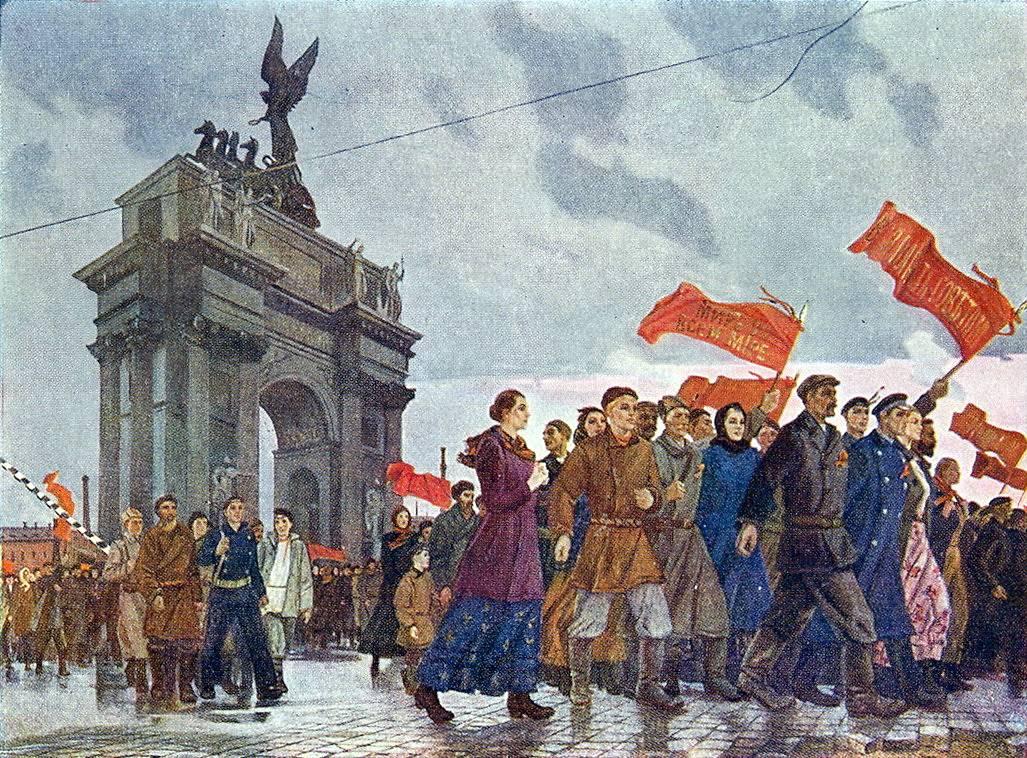 Александр Дейнека. Октябрьские лозунги мира у Невской заставы. 1960
