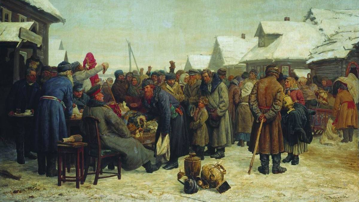 Василий Максимов. Аукцион за недоимки. 1881-1882