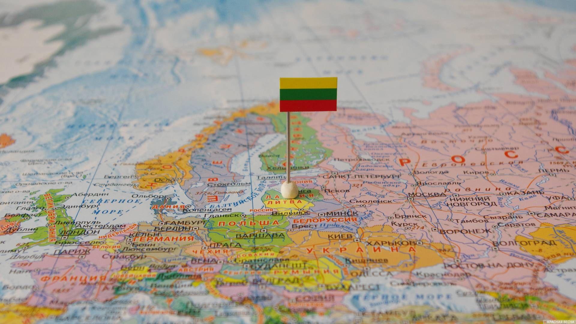 Литва с флагом на карте мира. 08.11.17