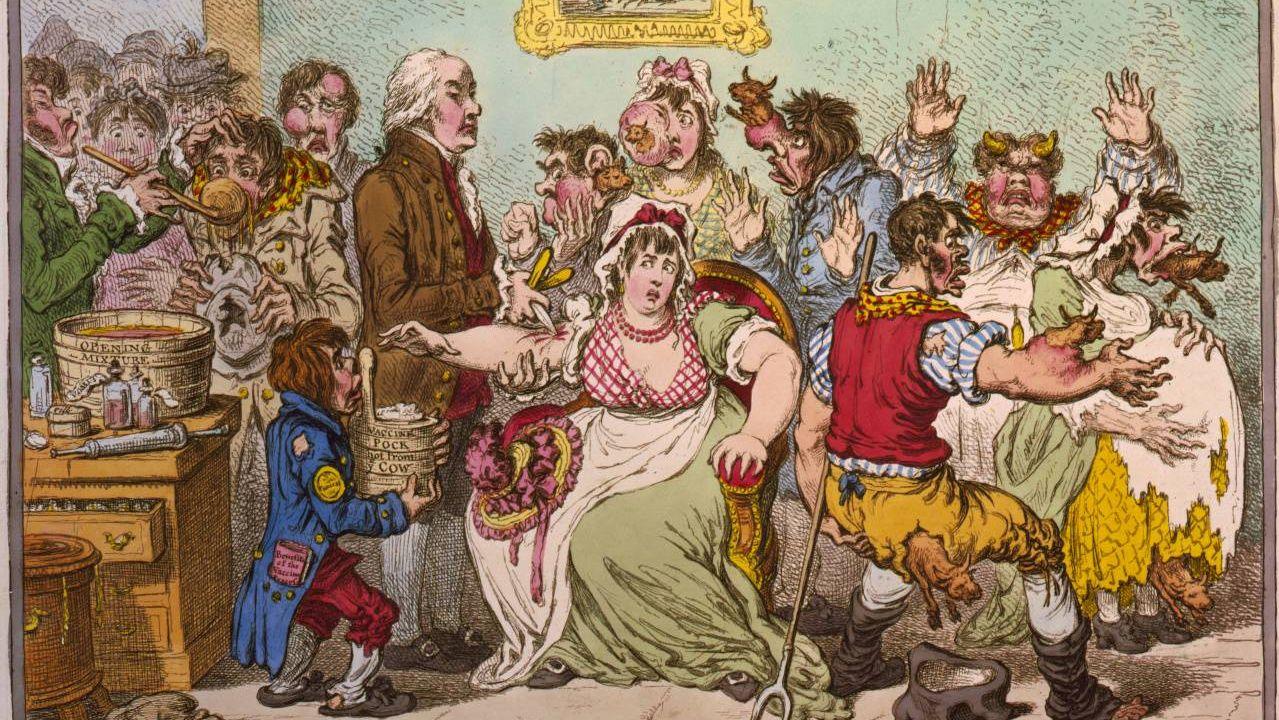 Джеймс Гилрей. Коровья оспа. Антипрививочная карикатура. 1802