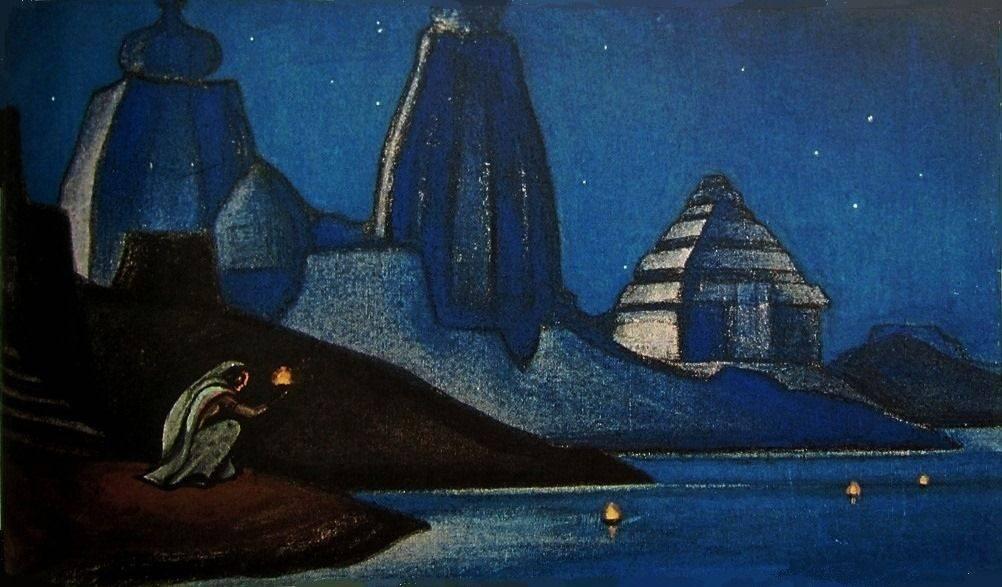Николай Рерих. Огни на Ганге. 1947
