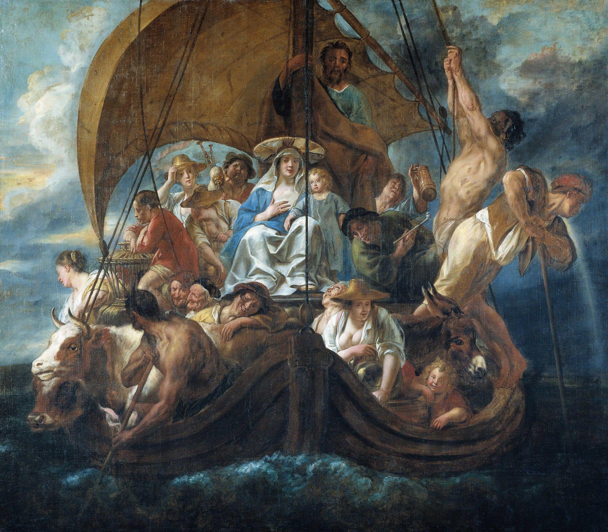 Йорданс Якоб. Святое семейство с людьми и животными в лодке. 1652