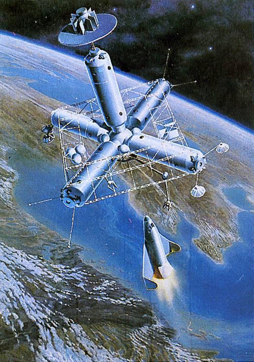 Рис. 4. Возможно, так должна была выглядеть орбитальная станция В. П. Глушко. (Картина А. Соколова)