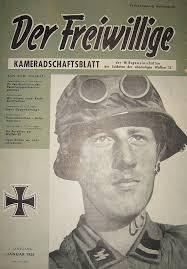 Обложка печатного органа «Общества взаимопомощи бывших членов Ваффен-СС», журнала «Доброволец». 1956