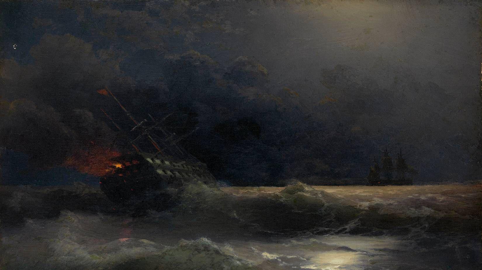 Иван Айвазовский. Горящий корабль. 1896
