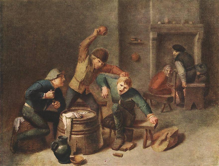 Адриан Брауэр. Драка крестьян. 1630-е