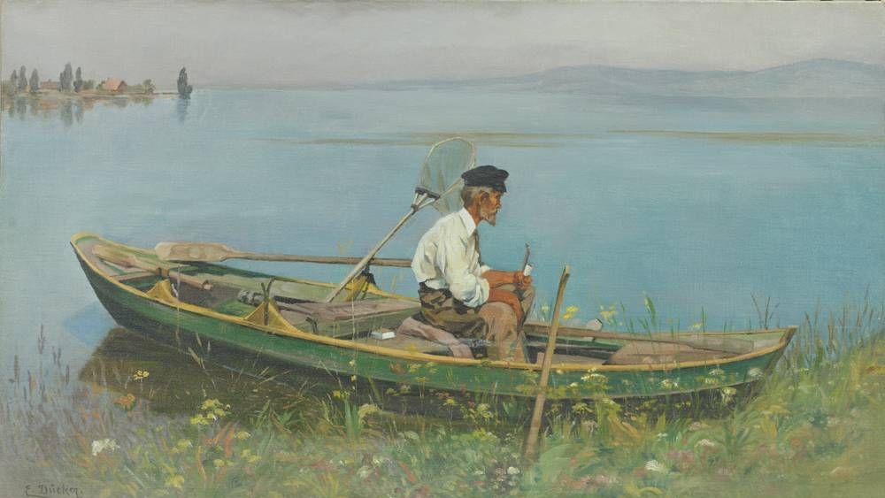 Евгений Дюккер. Рыбак в лодке
