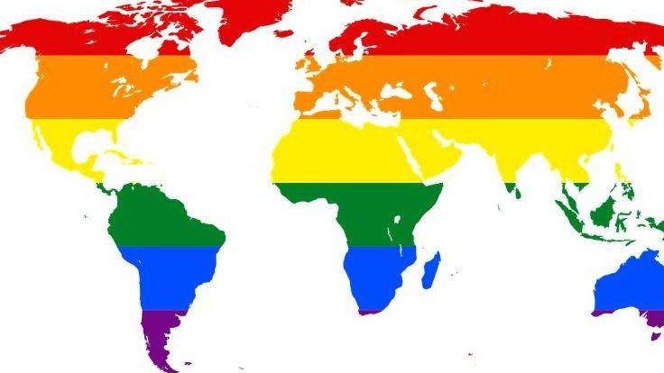карта мира радуга, символ лгбт, лгбт