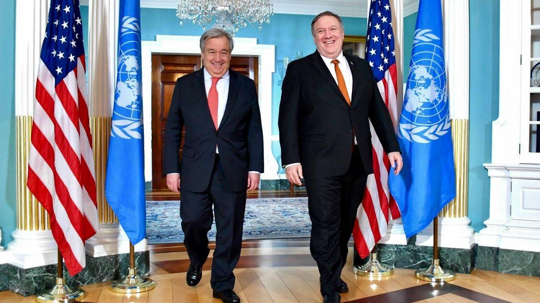 Генеральный секретарь ООН Антониу Гутерреш и госсекретарь США Майкл Помпео