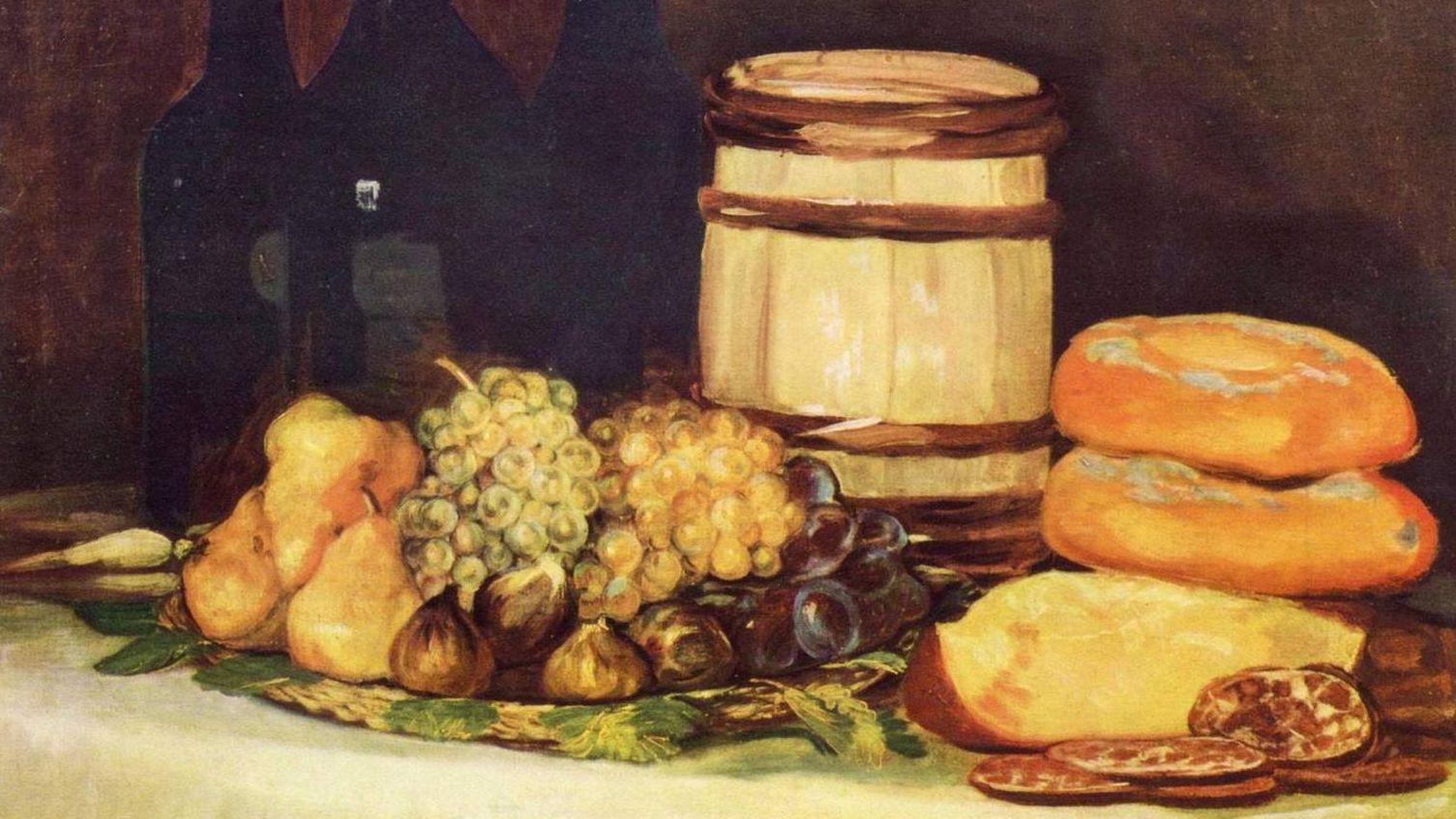 Натюрморт с фруктами, бутылками, хлебом