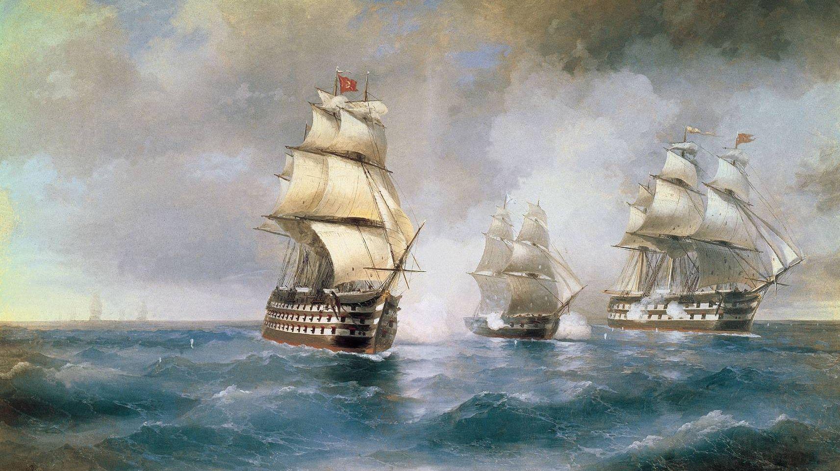Иван Айвазовский. Бриг «Меркурий», атакованный двумя турецкими кораблями. 1892