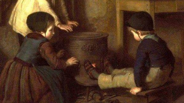 Пьер Эдуар Фрер. Холодный день (фрагмент).1858