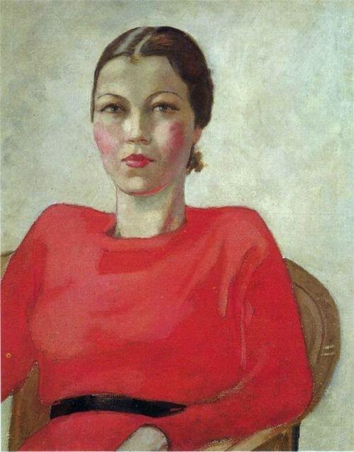 Александр Дейнека. Женщина в красном. 1939 год