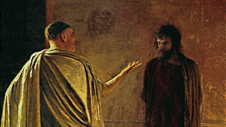 Ге Николай Николаевич. Христос и Пилат. В чем есть истина (фрагмент). 1890 год