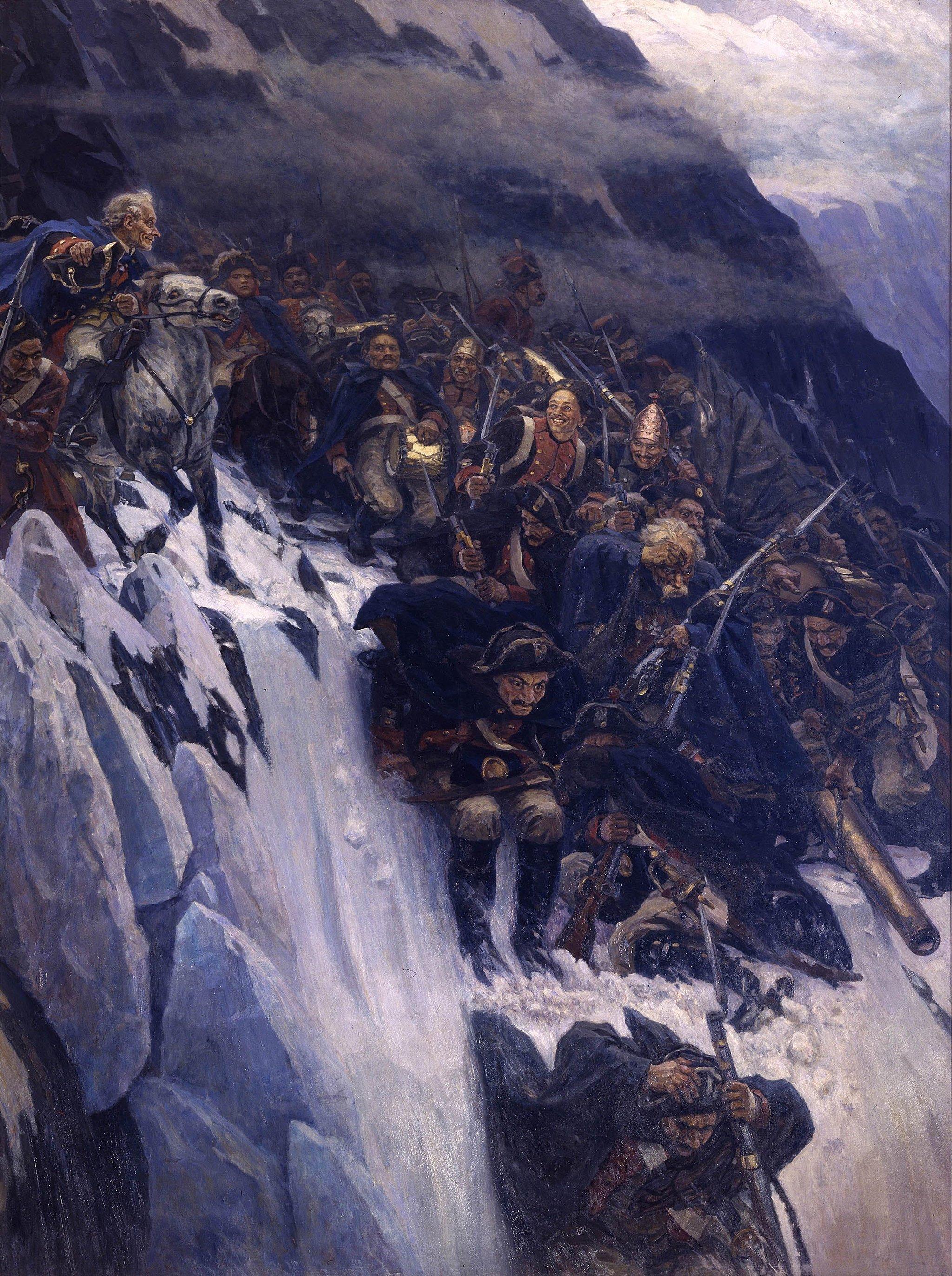 Василий Суриков. Переход Суворова через Альпы в 1799 году. 1899
