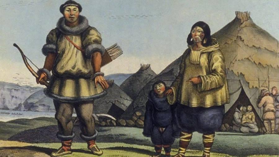 Луис Хорис. Чукотская семья перед своим домом. Август 1816