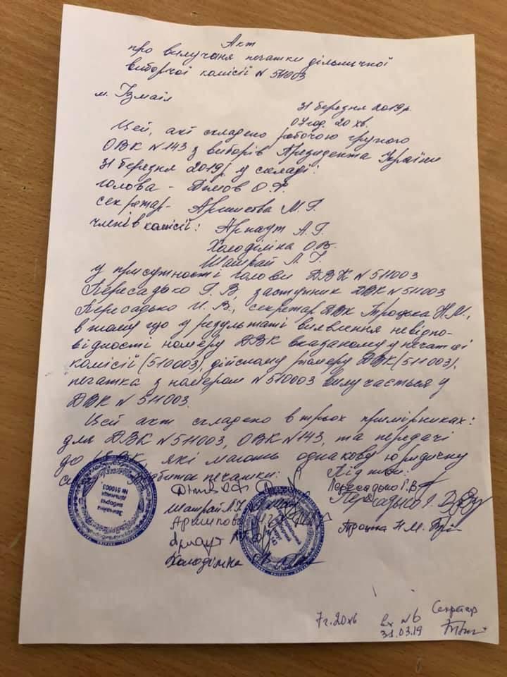Акт наблюдателя о несоответствии номера печати номеру УИК.