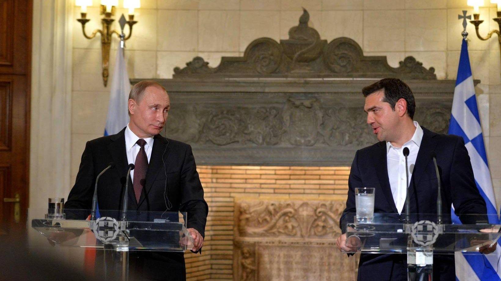 Президент России Владимир Путин и премьер-министр Греции Алексис Ципра