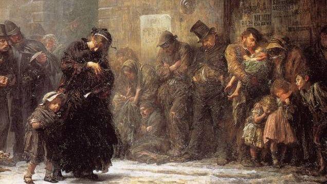 Люк Филдес. Голодные и бездомные (фрагмент). 1874