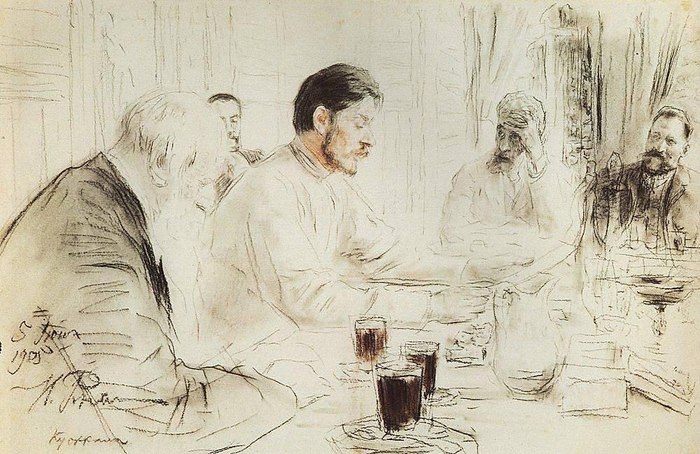 Илья Репин. М. Горький читает в «Пенатах» свою драму «Дети солнца». 1905