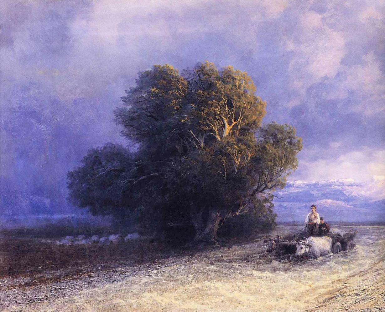 И.К. Айвазовский. Телега с волами пересекает затопленную равнину 1897