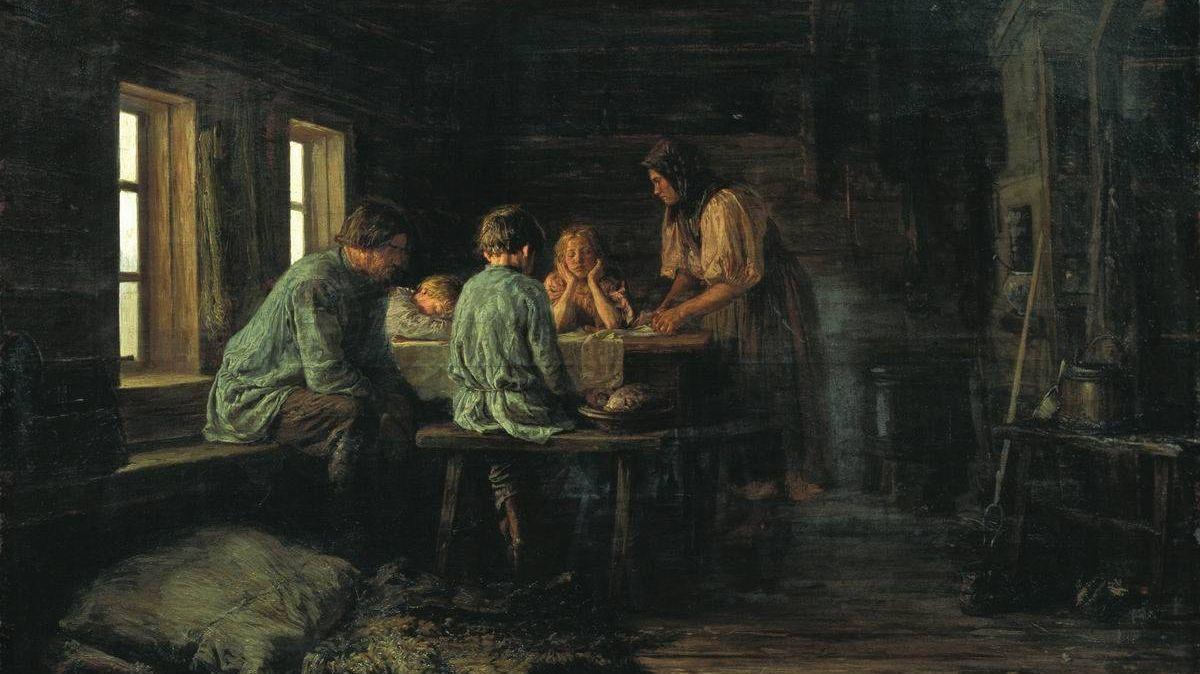 Бедный ужин (фрагмент). Василий Максимов. 1879