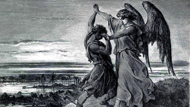 Гюстав Доре. Иаков борющийся с Ангелом. 1855