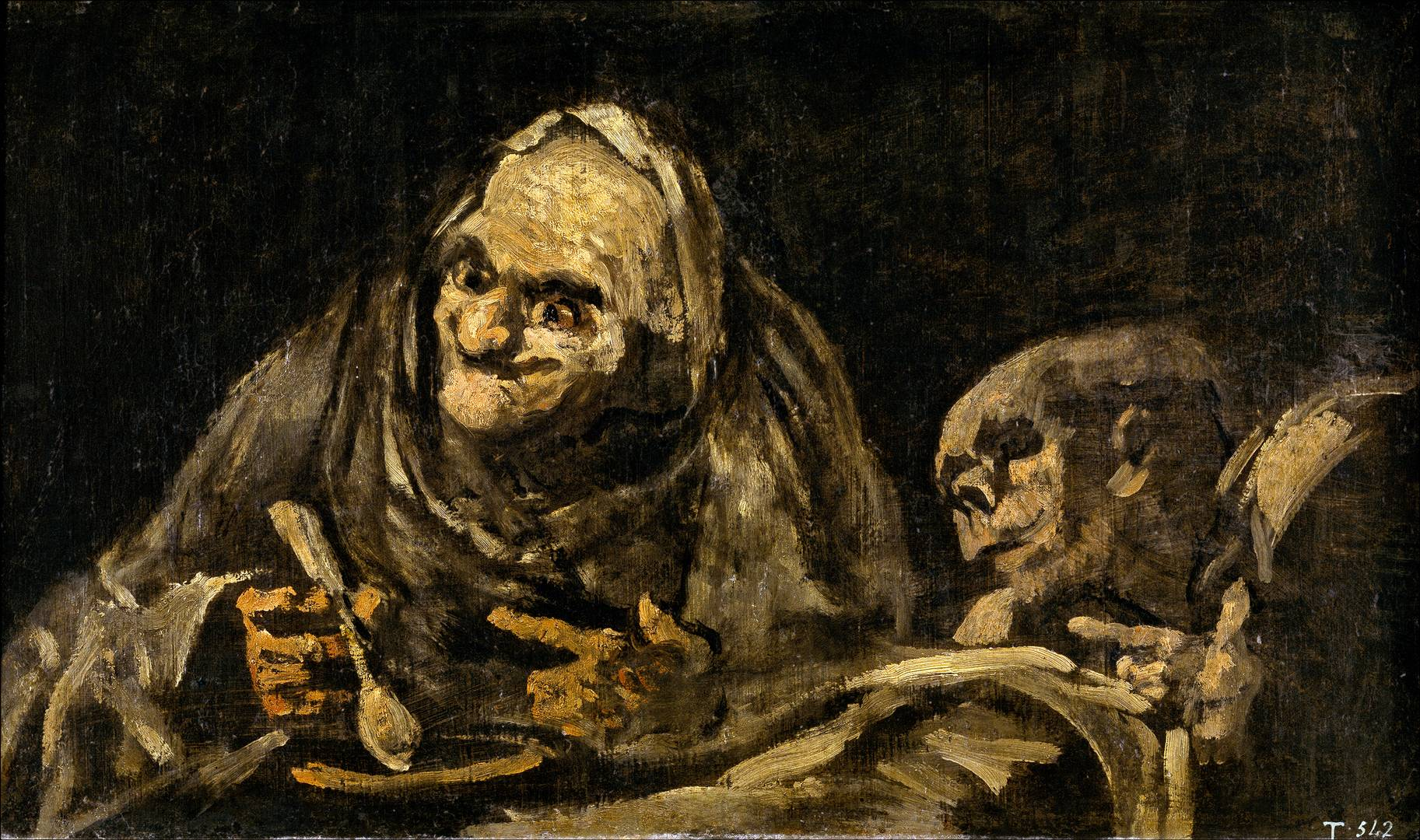 Франсиско де Гойя. Два старика вкушают суп. 1819-1823