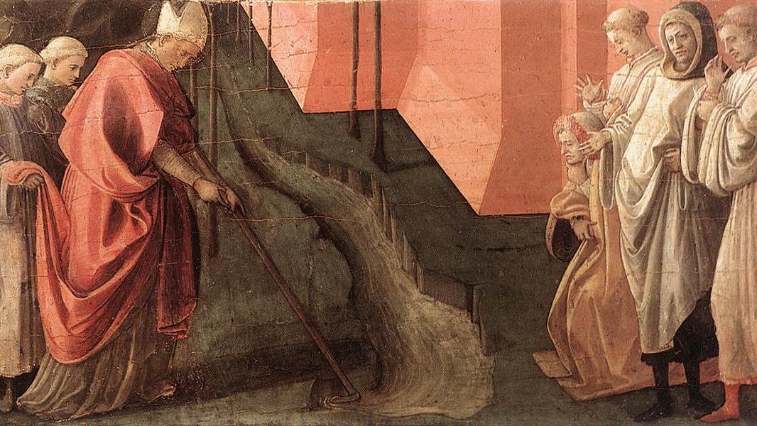 Филиппо Липпи. Святой Фредиан изменяет течение реки Серкио. 1437-39 гг.