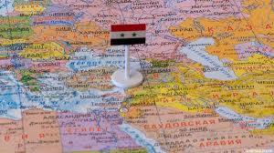 Сирия с флагом на карте мира.