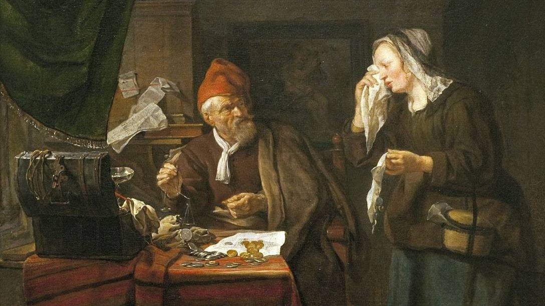 Габриэль Метсю. Ростовщик и плачущая женщина. 1654 год