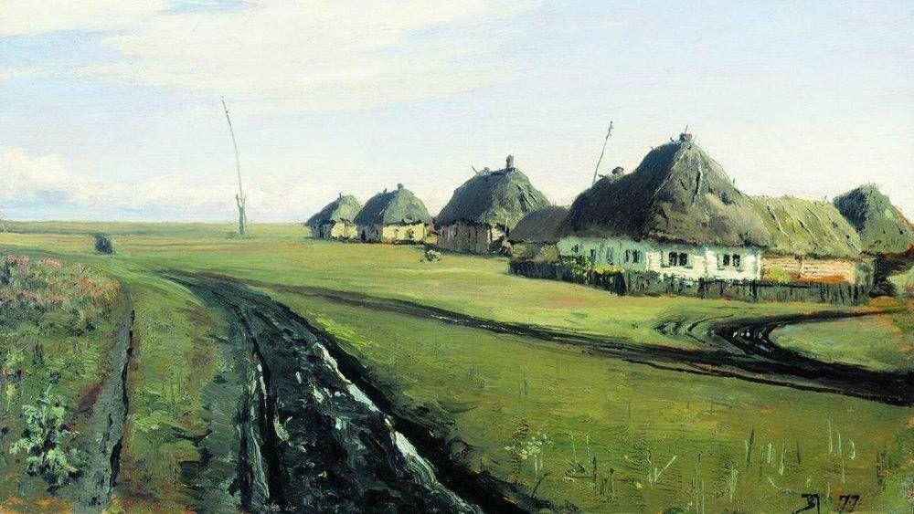 Василий Поленов. Дорога у деревни (фрагмент). 1877