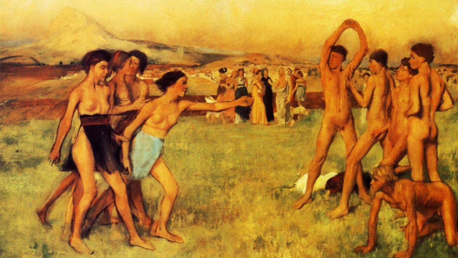 Эдгар Дега. Спартанские девушки вызывают на состязание юношей (фрагмент). 1860
