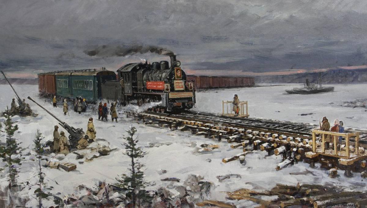 Картина из экспозиции. М.В.Петров-Маслаков. Первый поезд «Дороги Победы» в Ленинград. 1943 год (2015)