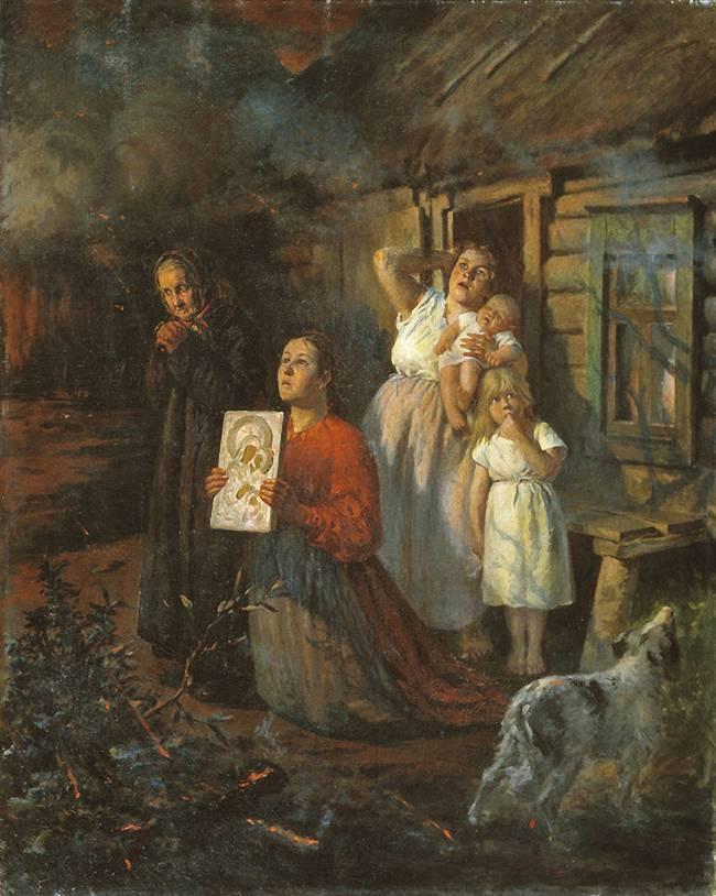Федор Бухгольц. Пожар в деревне. 1901