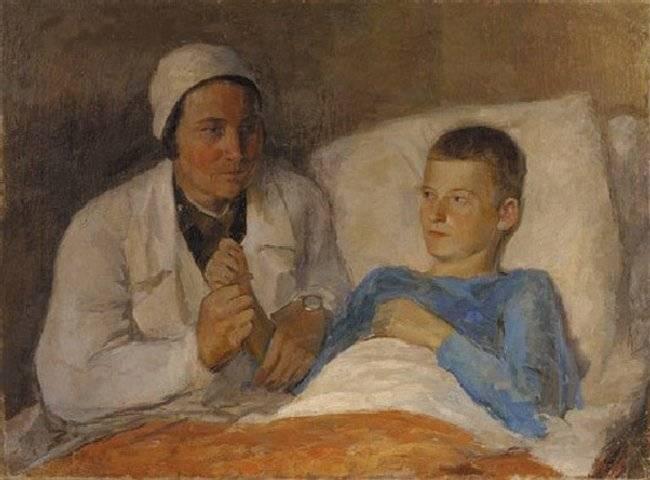 Т. Гиппиус. Военврач с мальчиком. 1930
