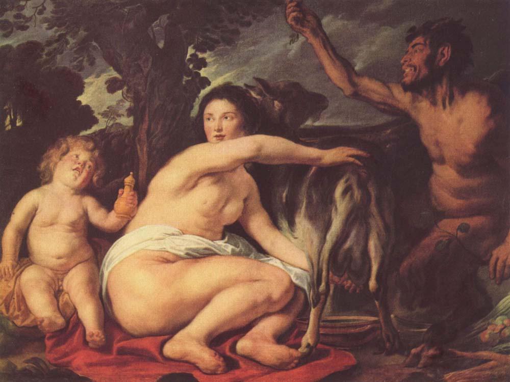 Йорданс Якоб. Кормление младенца Зевса молоком козы Амалтеи. ок.1630-1635